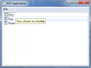 decorated RCP application with tooltip